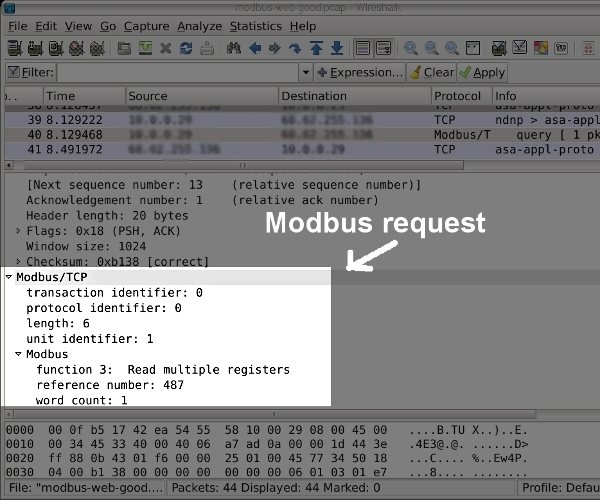 A modbus TCP query in wireshark